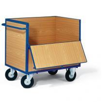 Skříňový vozík s madlem a plnými stěnami, do 400 kg, 1 sklopná stěna
