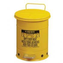 Kovový odpadkový koš pro hořlavé a nebezpečné látky, objem 53 l, žlutý