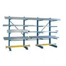 Jednostranný konzolový regál, přístavbový 300 x 120 x 100 cm, 2 250 kg, 4 konzole