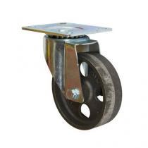 Litinové transportní kolo s přírubou, průměr 100 mm, otočné, kluzné ložisko, teplotně odolné