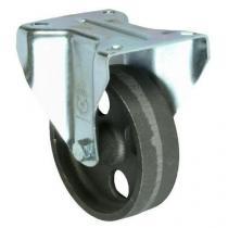 Litinové transportní kolo s přírubou, průměr 100 mm, kluzné ložisko, teplotně odolné