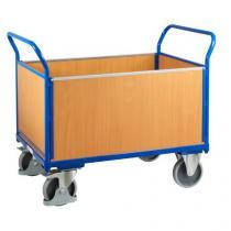 Plošinový vozík se dvěma madly s plnou výplní a bočními stěnami, do 500 kg, 100,6 x 139 x 80 cm