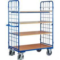 Vysoký policový vozík s madlem a mřížovými bočnicemi, do 500 kg, 4 police, 181,6 x 138,3 x 81,7 cm
