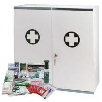 Velkoobjemová kovová nástěnná lékárnička, uzamykatelná, 53 x 53 x 19 cm, s náplní VÝROBA