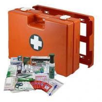 Plastový kufr první pomoci se stěnovým držákem, 33,8 x 44,3 x 14,7 cm, s náplní VÝROBA