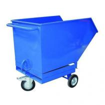 Pojízdný výklopný kontejner s kapsami pro vysokozdvižný vozík, objem 400 l, modrý