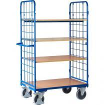 Vysoký policový vozík s madlem a mřížovými bočnicemi, do 500 kg, 4 police, 181,6 x 118,3 x 71,7 cm