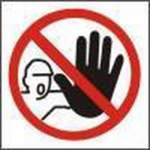 Zákazová bezpečnostní tabulka - Nepovolaným vstup zakázán, 92 x 92 mm, samolepicí fólie