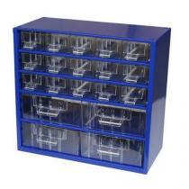 Kovový organizér, 20 zásuvek, modrý