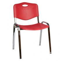 Plastová jídelní židle ISO Chrom, červená