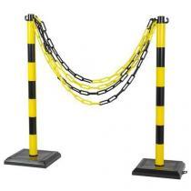 Plastové zahrazovací sloupky Ping s řetězem, výška 90 cm, 2 ks, černé/žluté