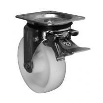 Nylonové transportní kolo s přírubou, průměr 150 mm, otočné s brzdou, kluzné ložisko