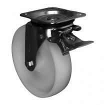 Nylonové transportní kolo s přírubou, průměr 200 mm, otočné s brzdou, kluzné ložisko