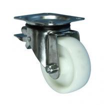 Nylonové transportní kolo s přírubou, průměr 125 mm, otočné s brzdou, kluzné ložisko