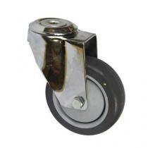Antistatické gumové přístrojové kolo se středovým otvorem, průměr 100 mm, otočné, kuličkové ložisko