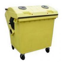 Plastová venkovní popelnice na tříděný odpad, objem 1 100 l, žlutá