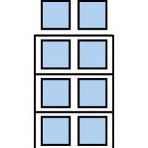 Paletový regál Cell, přístavbový, 399,6 x 180 x 75 cm, 7 800 kg, 3 patra, modrý
