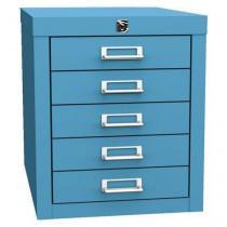 Jednořadá kovová kartotéka A4 Esk, 5 zásuvek, modrá, uzamykatelná