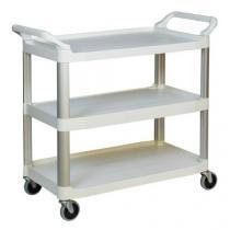 Plastový policový vozík se dvěma madly, do 135 kg, 3 police s vyvýšenými hranami