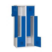 Svařovaná šatní skříň Tobias, dveře Z, 4 oddíly, cylindrický zámek, šedá/tm. modrá