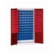 Skříň s boxy (232 ks), šedá/červená