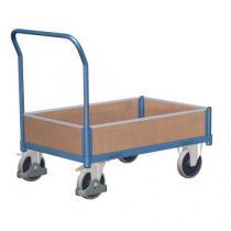 Plošinový vozík s madlem a nízkými plnými bočnicemi, do 500 kg, 100,6 x 112,5 x 70 cm