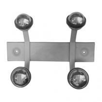 Plastový nástěnný věšák Ted, šířka 28 cm, šedý/stříbrný