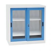 Kovová dílenská skříň Manutan, 100 x 100 x 65 cm, šedá/modrá