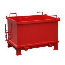 Kontejner s výklopným víkem, objem 2 000 l, červený