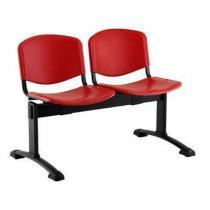 Plastová lavice Ida, dvumístná, červená
