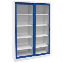 Dílenská skříň na nářadí Manutan, 200 x 150 x 65 cm, šedá/modrá