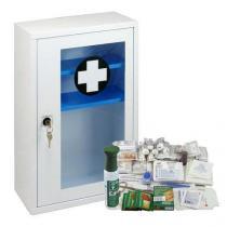 Kovová nástěnná lékárnička s transparentními dvířky, uzamykatelná, 46 x 30 x 14 cm, s náplní SKLAD