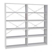 Kovový regál, základní, 198 x 100 x 30 cm, 5 polic, šedý