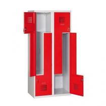 Svařovaná šatní skříň Tobias, dveře Z, 4 oddíly, cylindrický zámek, šedá/červená