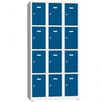 Svařovaná šatní skříň Philip, 12 boxů, cylindrický zámek, šedá/modrá