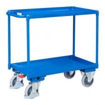Policový vozík s madlem, do 400 kg, 2 police s vyvýšenými hranami