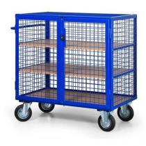 Uzavíratelný skříňový vozík s madlem a mřížovými stěnami, do 600 kg, 3 police
