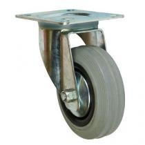 Gumové transportní kolo s přírubou, průměr 100 mm, otočné, kluzné ložisko