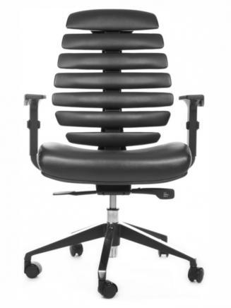 Kancelářské židle Node Kancelářská židle FISH BONES černý plast, černá koženka PU580165