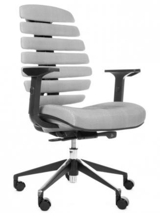 Kancelářské židle Node Kancelářská židle FISH BONES černý plast, šedá látka s černou mřížkou SH04