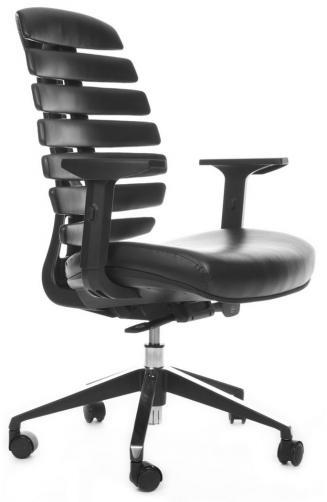 Kancelářské židle Node - Kancelářská židle FISH BONES černý plast, černá kůže