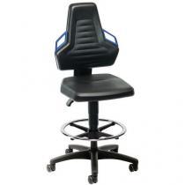 Dílenská židle Bimos Ergoconfort Vinyl s podnožkou a měkkými kolečky