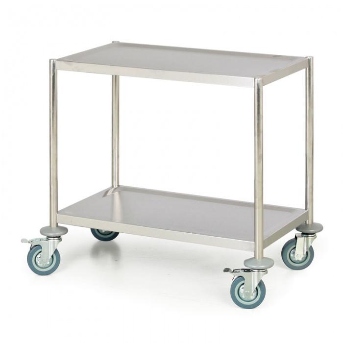 Nerezový policový vozík bez rukojeti, 2 police, 690x390 mm