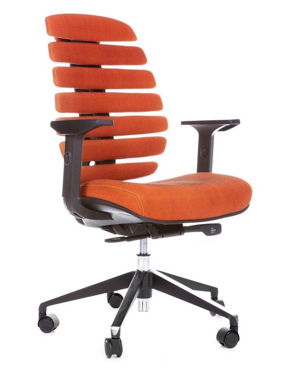 Kancelářská židle Node - Kancelářská židle FISH BONES černý plast, oranžová SH05