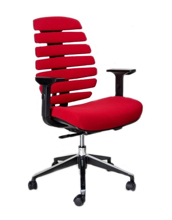 Kancelářská židle Node - Kancelářská židle FISH BONES černý plast,červená látka 26-68