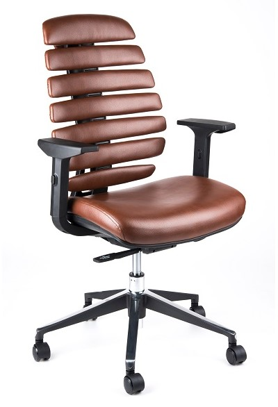 Kancelářská židle Node - Kancelářská židle FISH BONES černý plast, hnědá koženka