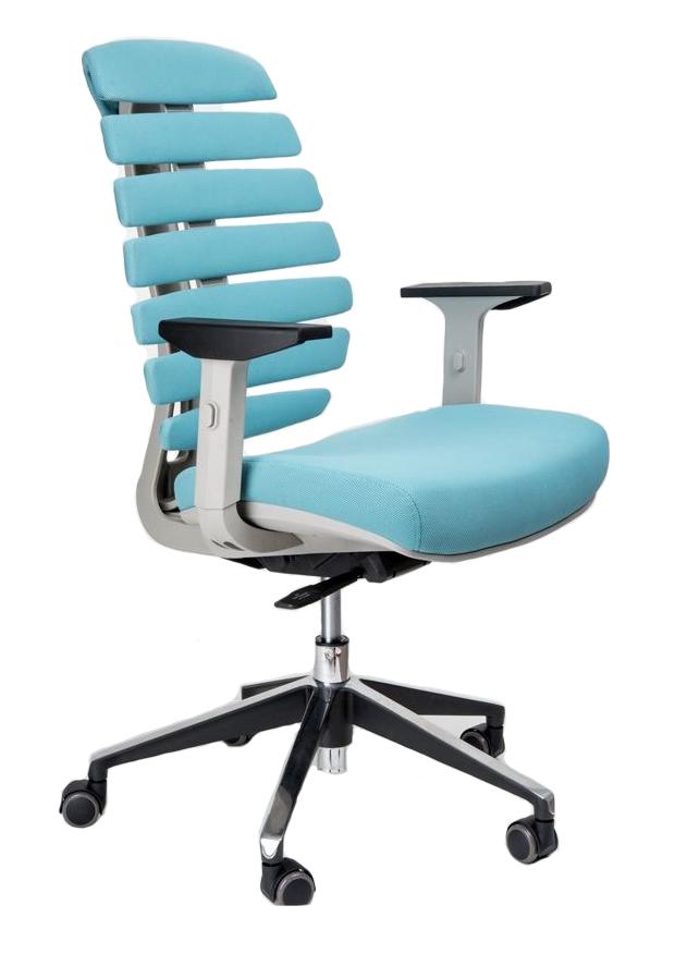 Kancelářská židle Node - Kancelářská židle FISH BONES šedý plast, tyrkysová látka 26-30