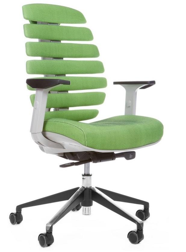 Kancelářská židle Node - Kancelářská židle FISH BONES šedý plast, zelená látka SH06