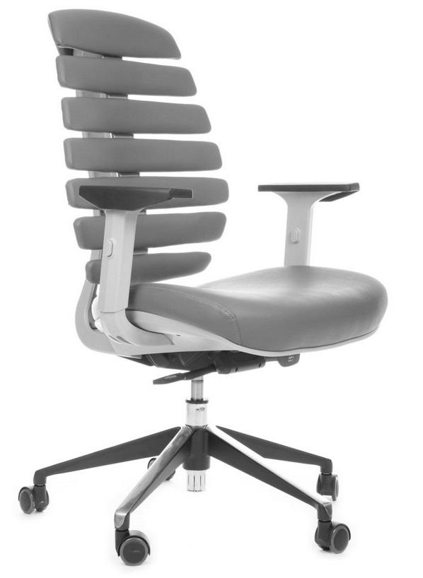 Kancelářská židle Node - Kancelářská židle FISH BONES šedý plast, šedá kůže