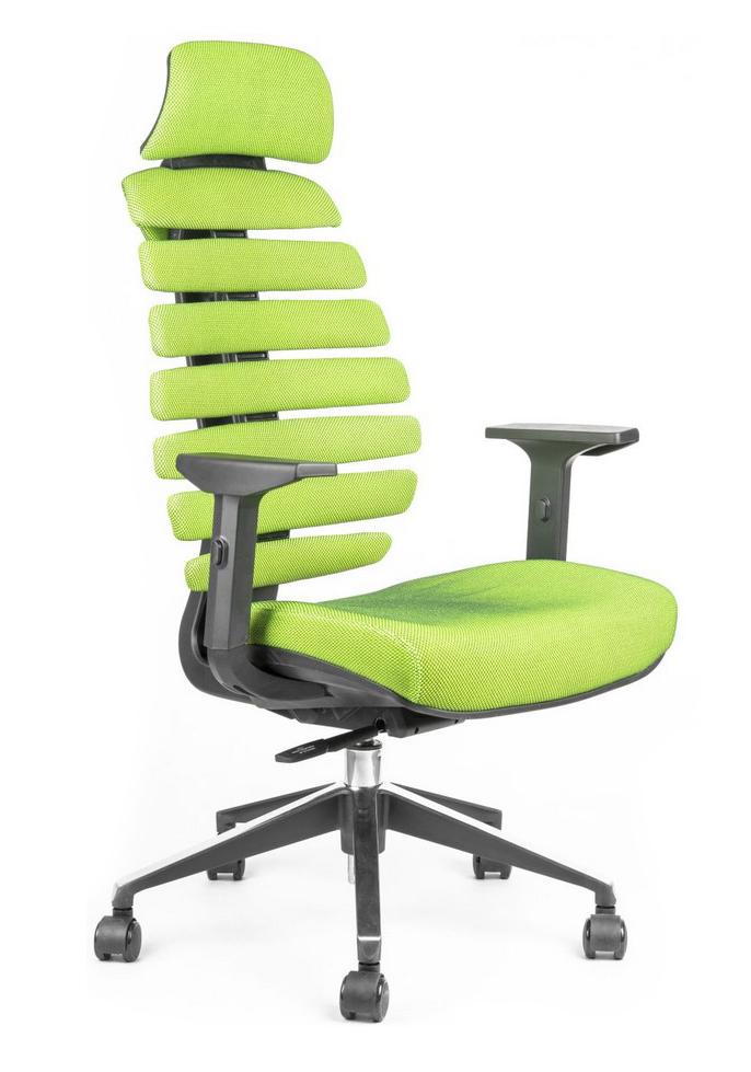 Kancelářská židle Node - Kancelářská židle FISH BONES PDH černý plast, zelená látka SH06